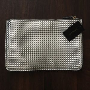 NWT F21 silver clutch, geometric textured